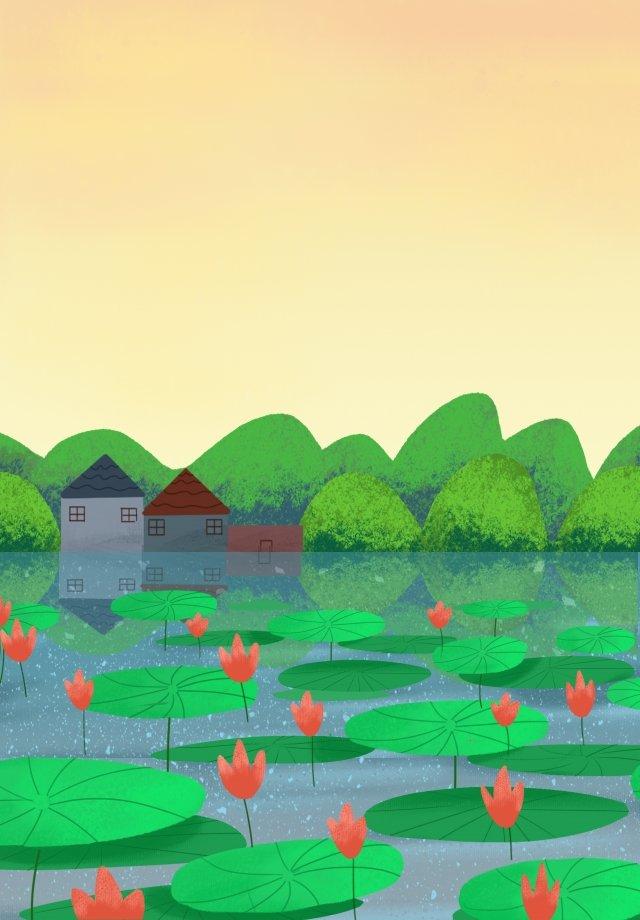仲夏夏天風景手拉的例證蓮花 插畫素材