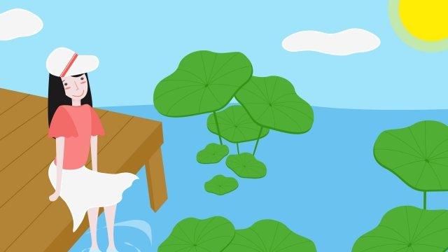 盛夏夏季池塘 插畫素材 插畫圖片