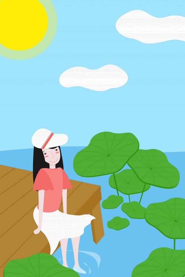 盛夏夏季池塘 插畫素材