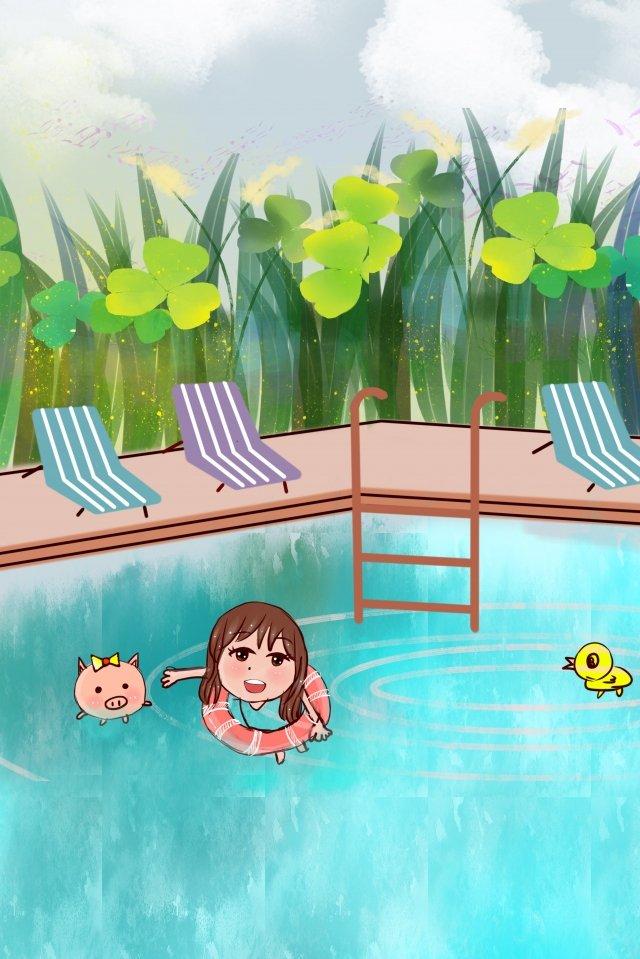 真夏のプール手描きのパーティー イラスト素材 イラスト画像