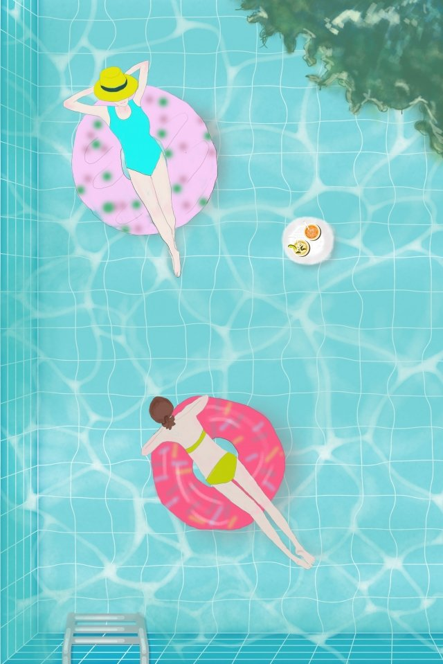 midsummer swimming pool it cool, Afternoon, Girl, Swimming Ring illustration image