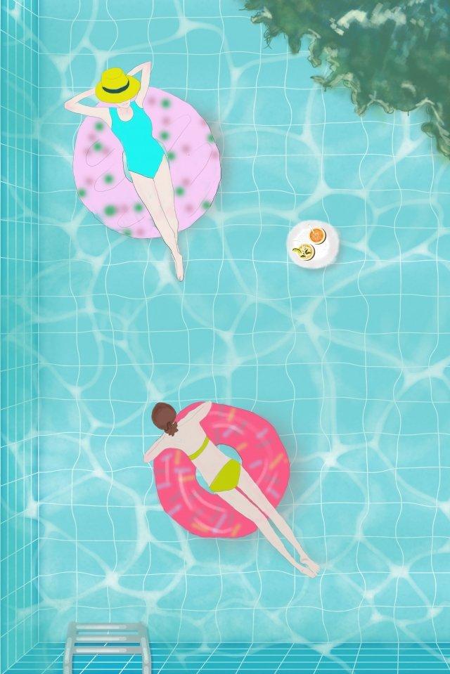 midsummer swimming pool it cool llustration image