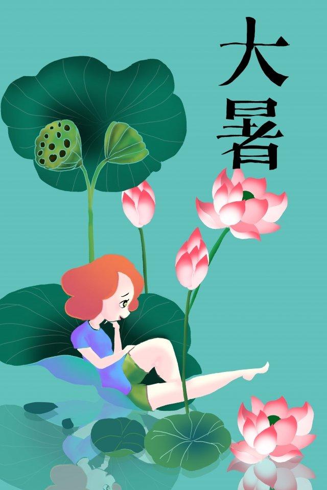 minimalism summer lotus leaf lotus llustration image