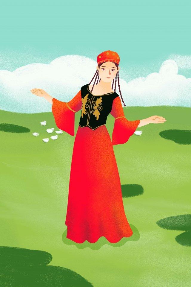 अल्पसंख्यक उइघुर झिनजियांग किशोर लड़की चित्रण छवि चित्रण छवि