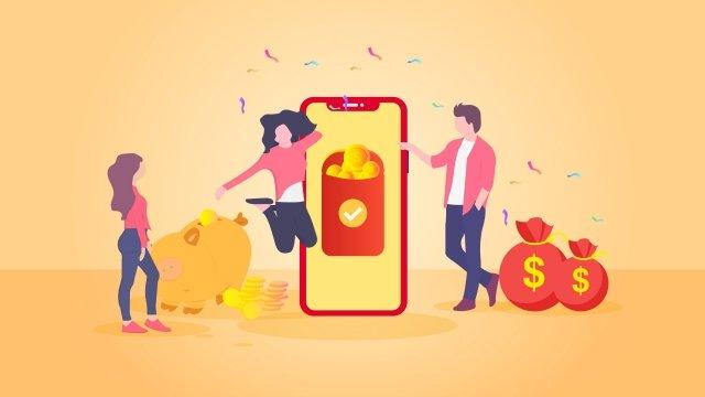 мобильный телефон красный конверт сцены финансового Ресурсы иллюстрации Иллюстрация изображения