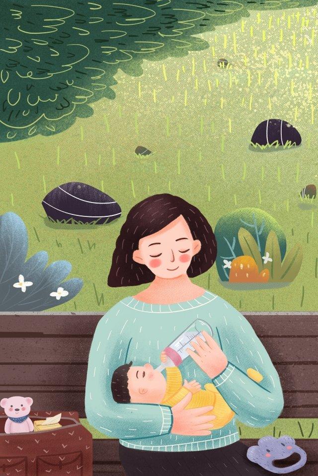 媽媽寶貝媽媽和寶寶草原 插畫素材