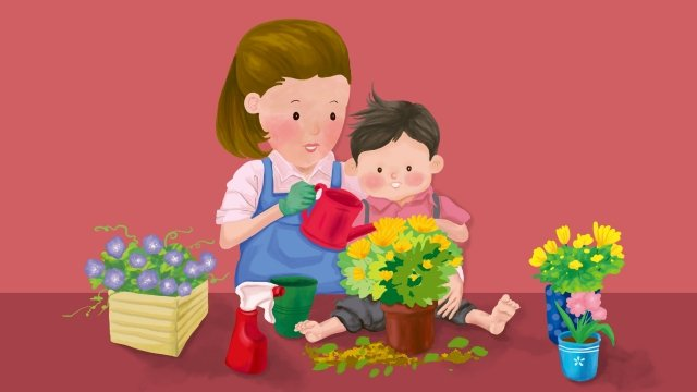 mom child mothers day flowers llustration image