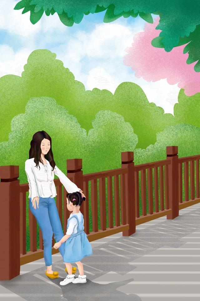 mom daughter mothers day plank road llustration image illustration image