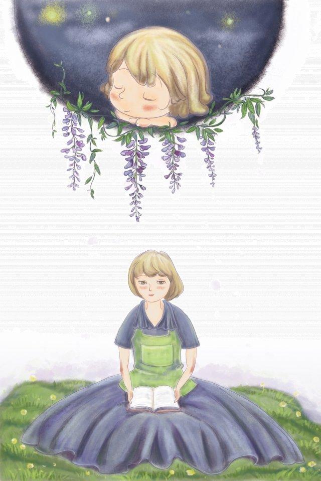 媽媽夢境兒童紫藤花 插畫圖片