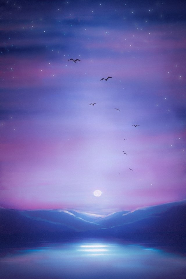 monthly sky starry sky landscape, Monthly, Sky, Starry Sky illustration image