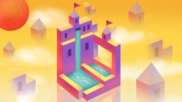 紀念碑谷城市城堡的房子 插畫素材