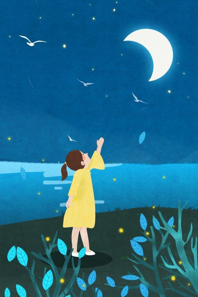 月亮女孩夜河水 插畫素材