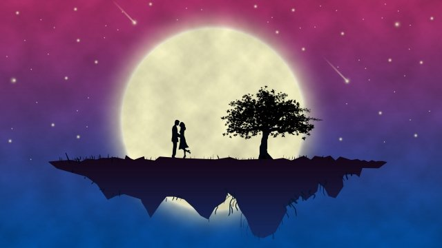 moon love couple night sky llustration image illustration image
