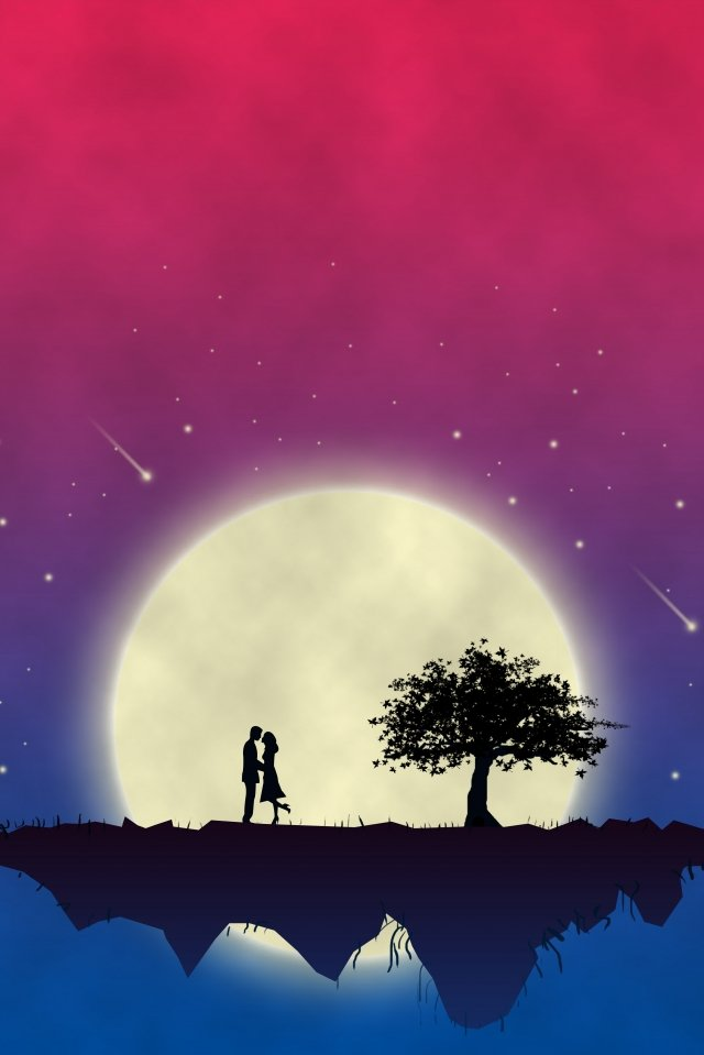moon love couple night sky llustration image