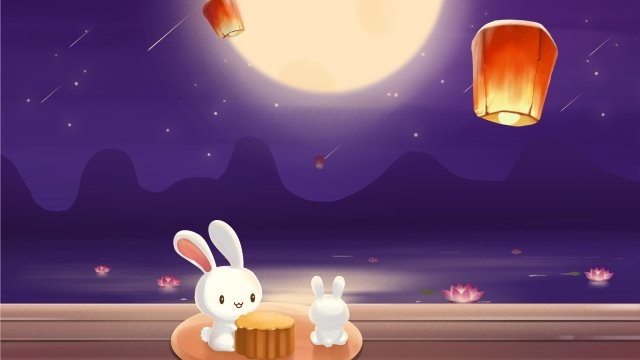 moon mid autumn reunion eating moon cake llustration image