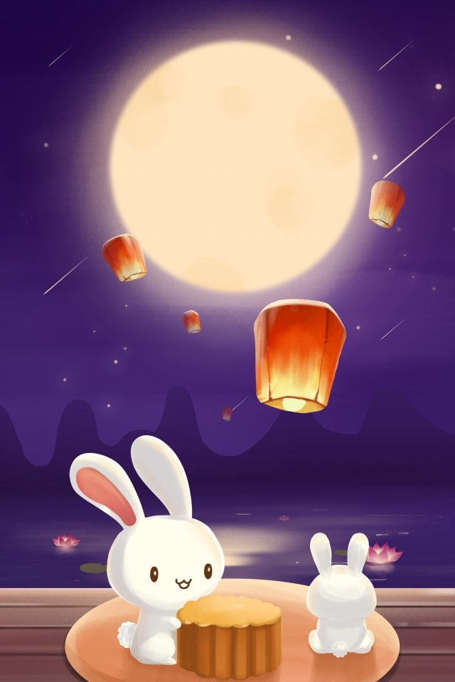 moon mid autumn reunion eating moon cake illustration image