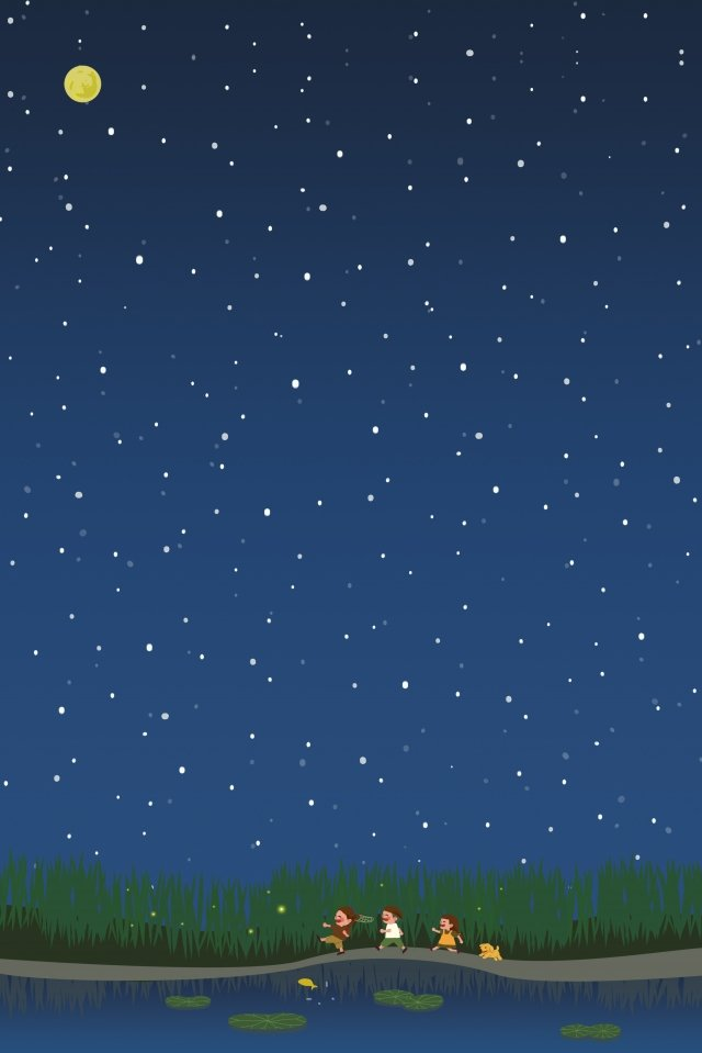 moon round moon star starry sky, Summer, Play, Child illustration image