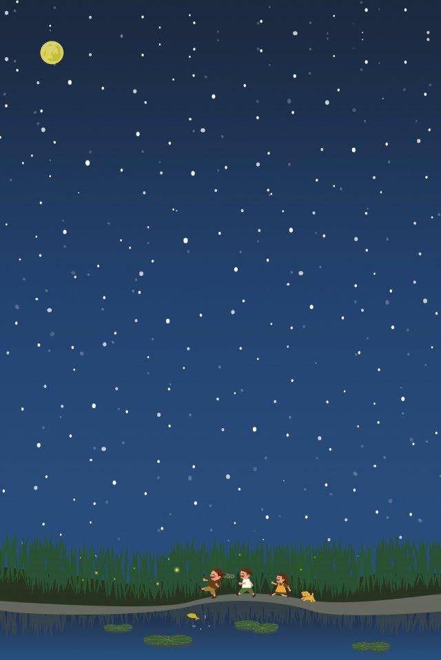 友達が一緒に遊びに行く 月 丸い月 星 星空 夏 夏 遊ぶ こども 子犬 ホタル 踏む 遊ぶ 池 川 蓮の葉 魚月  丸い月  星 PNGおよびPSD illustration image