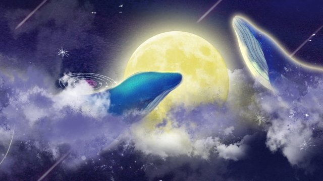 moon starry sky whale illustration, Cloud, Meteor, Star illustration image