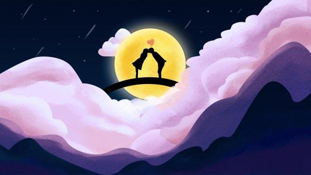 moon tanabata couple starry sky, Love, Romantic, Hand Painted illustration image