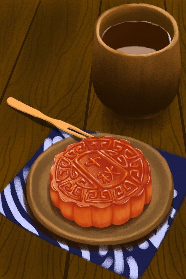 月餅節月餅茶几 插畫素材