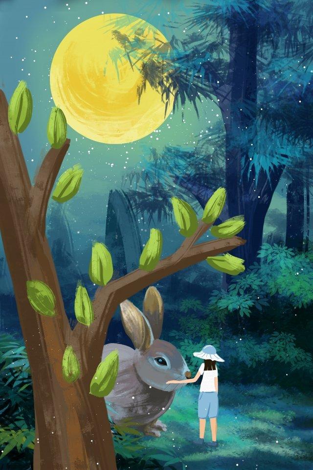 лунный свет большое дерево книжка с картинками кролик Ресурсы иллюстрации