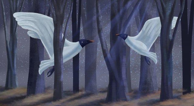 달빛 비행 조류 숲 밤 삽화 소재 삽화 이미지