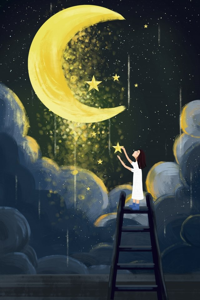 moonlight healing night starry sky, Cloud Layer, Glorious, Hand Painted illustration image