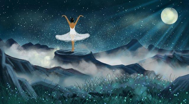 月光月踊り少女ピーク イラスト素材