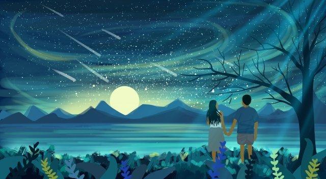 月光山湖畔湖水 イラスト素材 イラスト画像