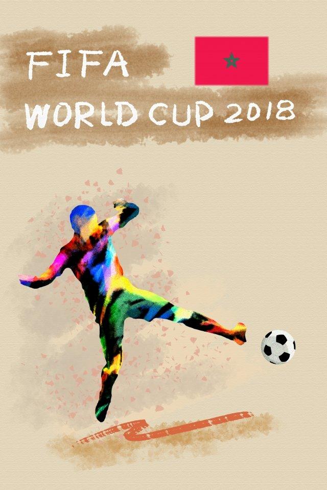 モロッコサッカーワールドカップ2018 イラスト素材