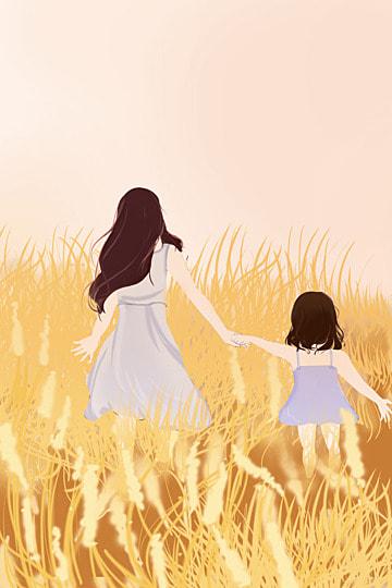 母親の愛情の少女母親と娘 イラスト素材 イラスト画像