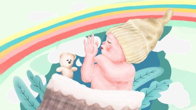 媽媽和寶寶寶寶睡覺去小寶寶 插畫素材 插畫圖片