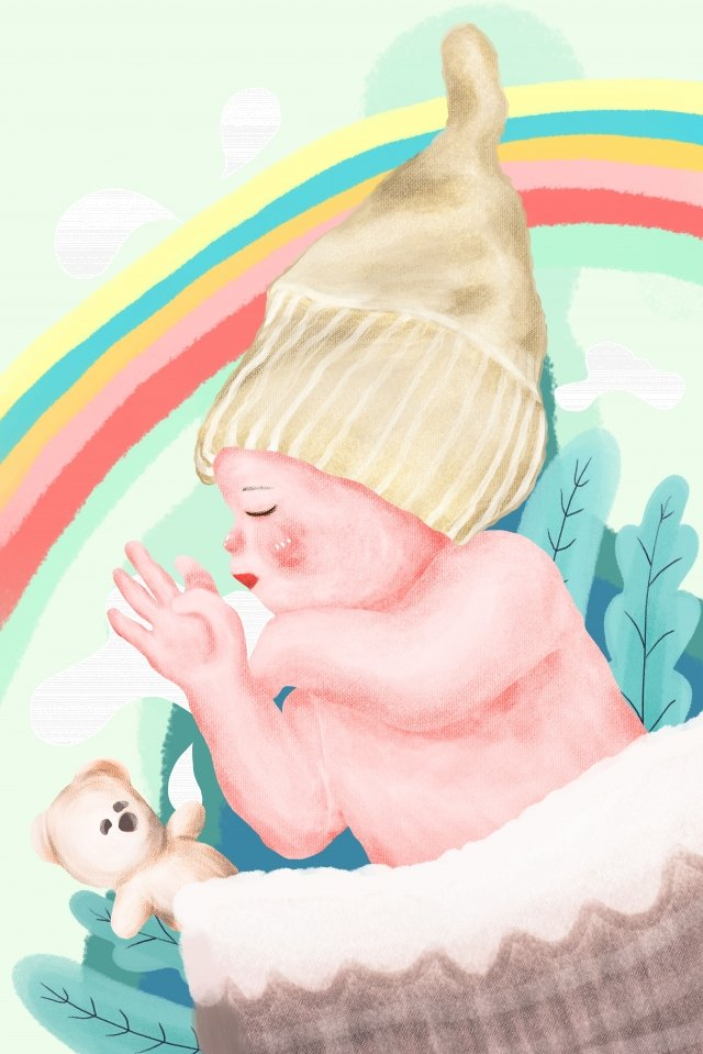 母親と赤ちゃんの赤ちゃんが小さな赤ちゃんをベッドに行く イラストレーション画像 イラスト画像