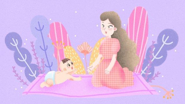 媽媽和寶寶媽媽媽媽寶貝 插畫素材 插畫圖片