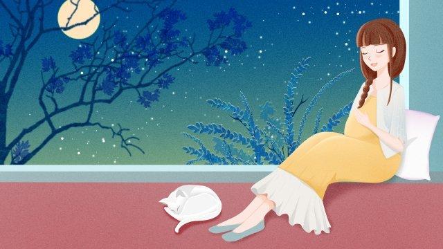母親和嬰兒懷孕的母親懷孕的媽媽在月光下懷孕的母親在窗邊 插畫素材 插畫圖片