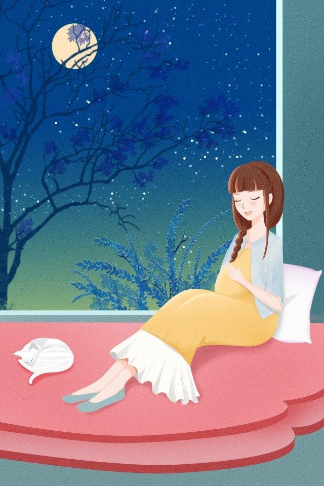 月明かりの下妊娠中の母親の下で妊娠中の母親と赤ちゃん妊娠中の母親 イラスト素材