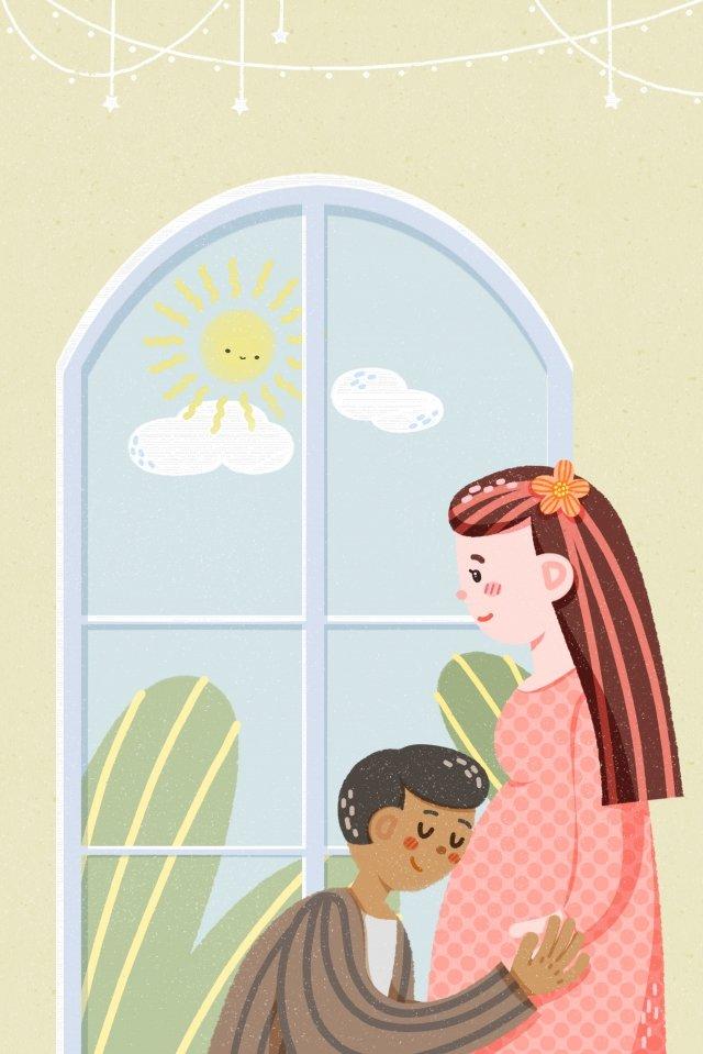 媽媽和寶寶孕婦媽媽的父母 插畫素材 插畫圖片