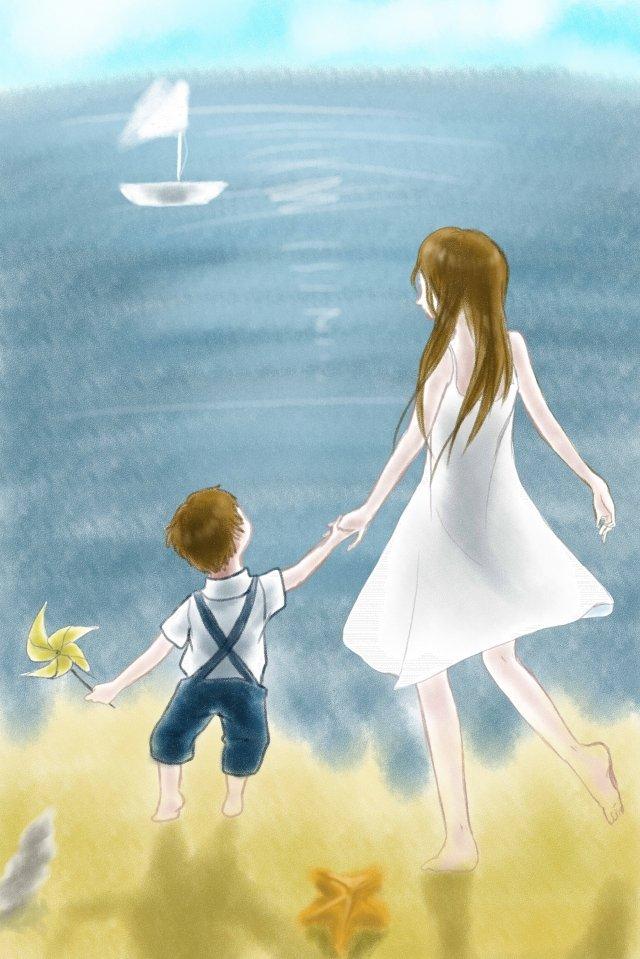 母親和孩子天藍色海灘海洋 插畫素材