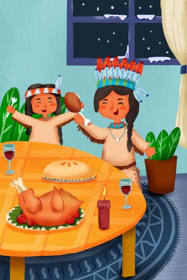 어머니와 딸 가족 따뜻한 칠면조 삽화 이미지