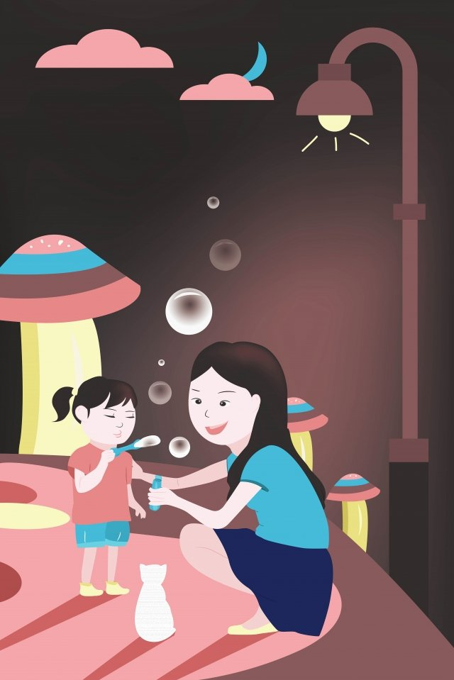 mother and daughter moonlight girl blowing bubbles thanksgiving mothers day llustration image