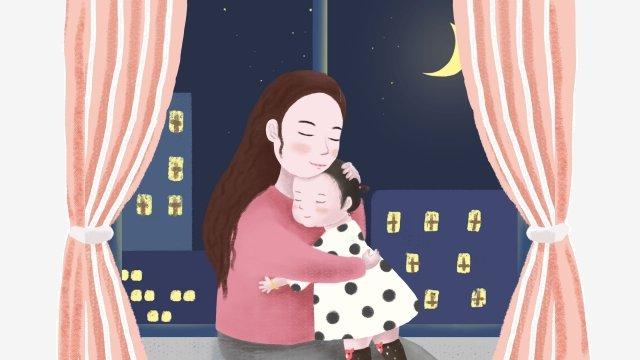 母親和女兒的母親和嬰兒的母親溫暖 插畫素材 插畫圖片