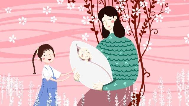 媽媽寶貝孩子 插畫素材 插畫圖片