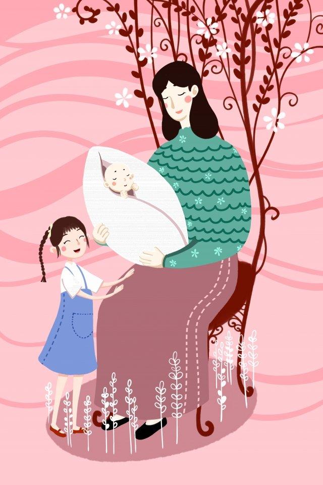 माँ बच्चा बच्चा बच्चा चित्रण छवि
