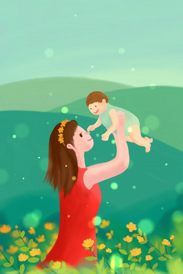 媽媽寶寶抱著嬰兒母親節 插畫素材 插畫圖片