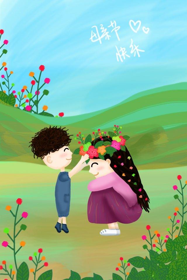 أمهات اليوم طفل أمي اكليلا من الزهور مواد الصور المدرجة الصور المدرجة