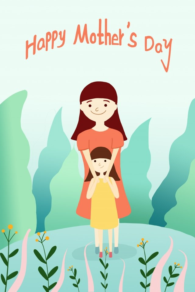 mothers day fresh beautiful hand drawn illustration, Mother, Child, Little Girl illustration image