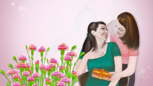 母親節插圖康乃馨母愛情感恩母親 插畫素材
