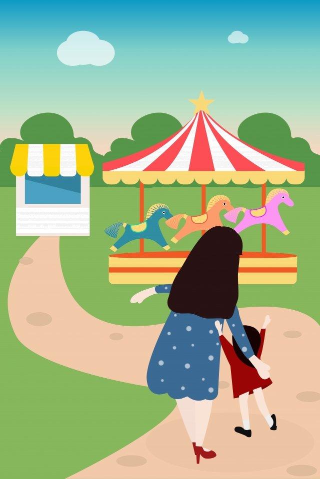 mothers day illustration carousel amusement park llustration image illustration image