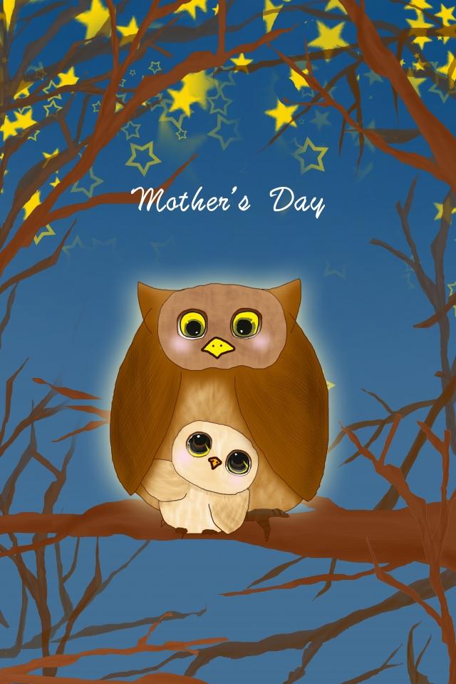 母親節插圖貓頭鷹鴞 插畫素材